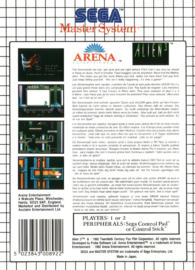 Alien³ SEGA Master System Back Cover