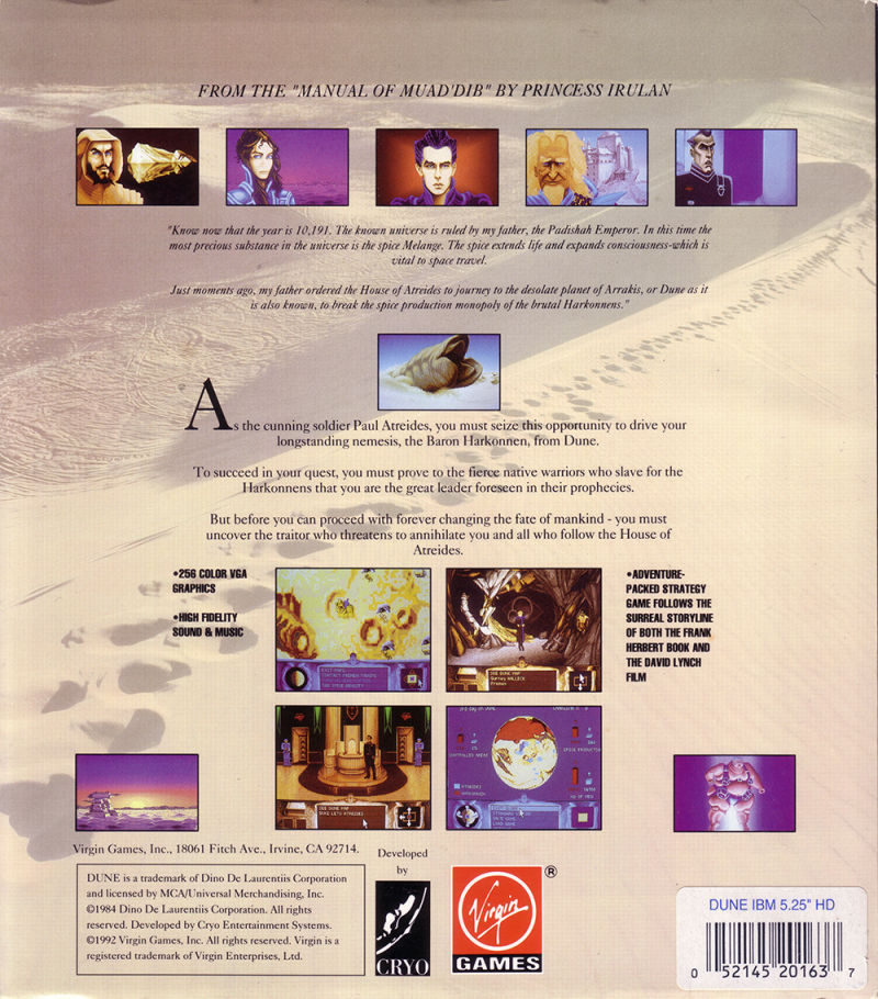 Dune DOS Back Cover