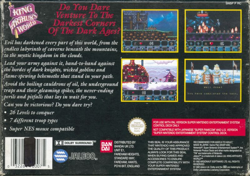 King Arthur's World SNES Back Cover