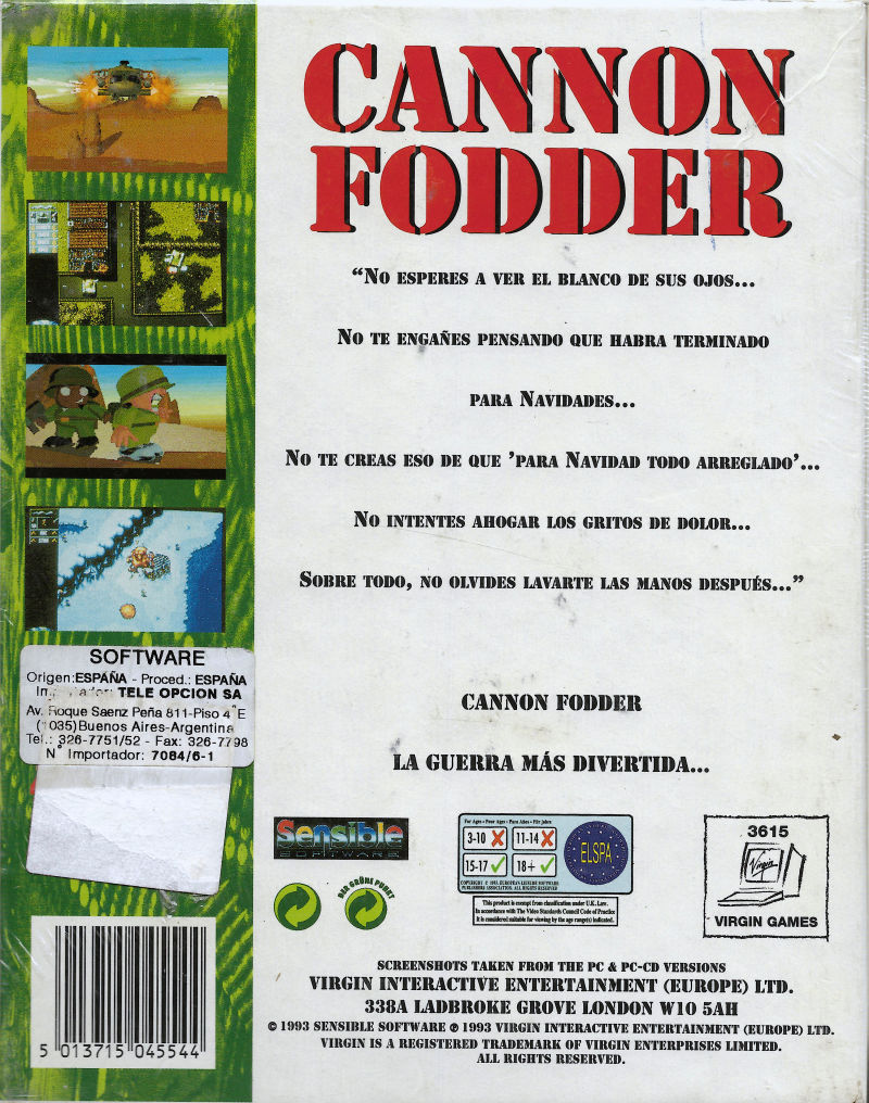 Cannon Fodder DOS Back Cover