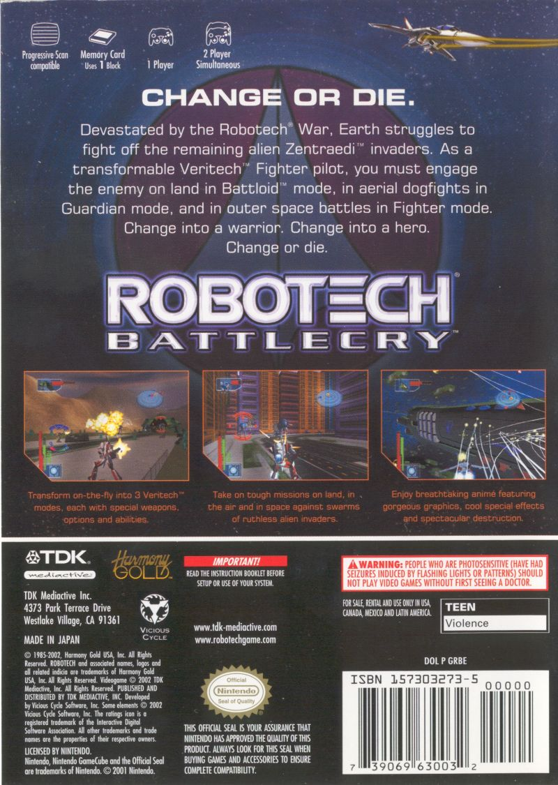 Robotech: Battlecry GameCube Back Cover
