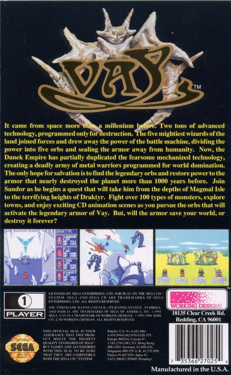 Vay SEGA CD Back Cover