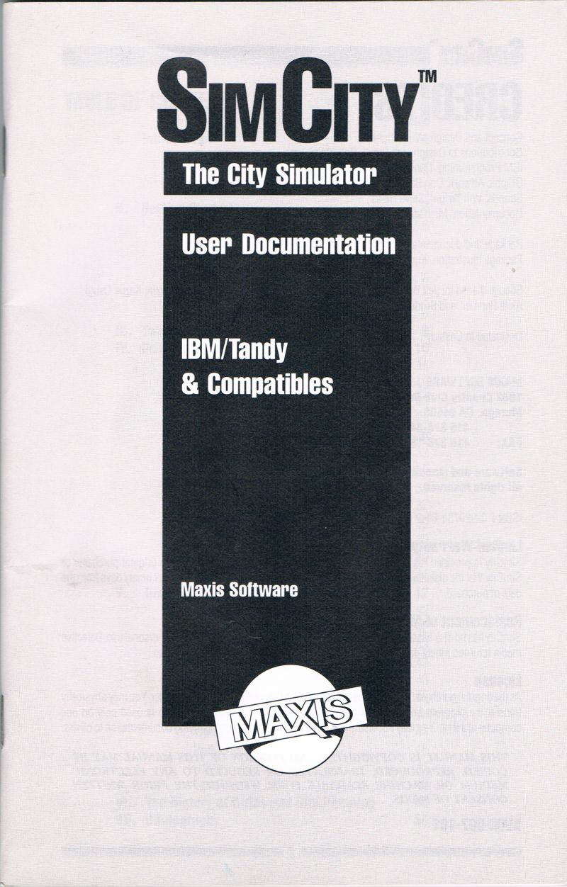 SimCity DOS Manual Front