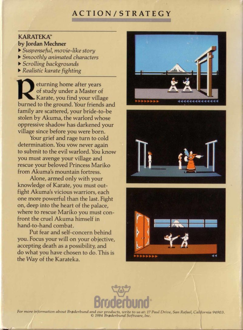 Karateka Apple II Back Cover