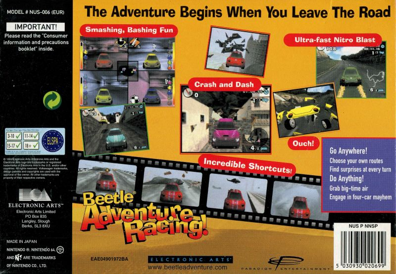 Beetle Adventure Racing! Nintendo 64 Back Cover