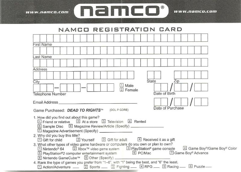 Dead to Rights GameCube Extras Namco Registration Card