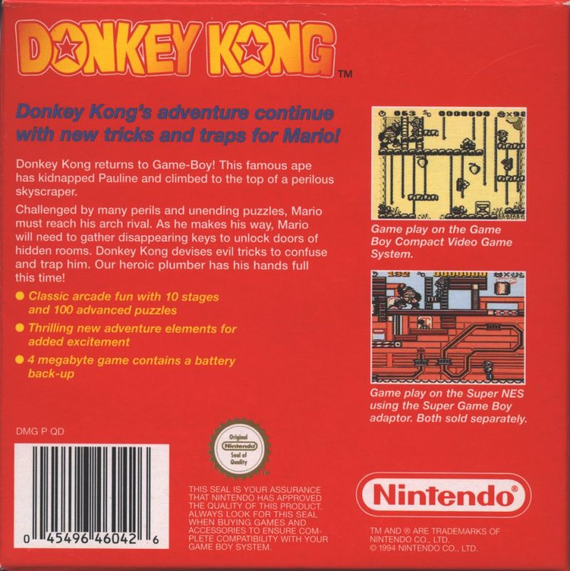 Donkey Kong Game Boy Back Cover