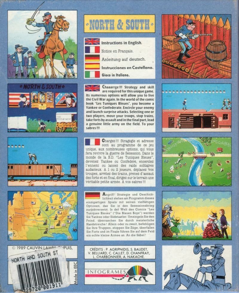 North & South Atari ST Back Cover