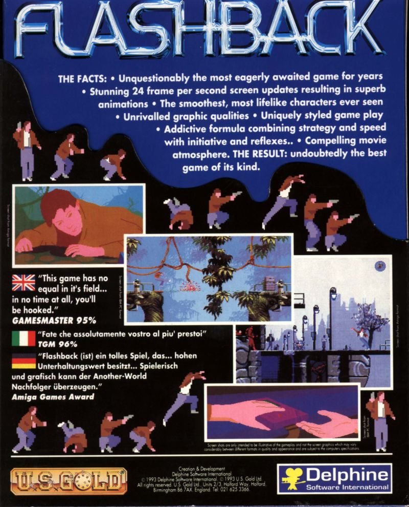 Flashback: The Quest for Identity DOS Back Cover With Slip