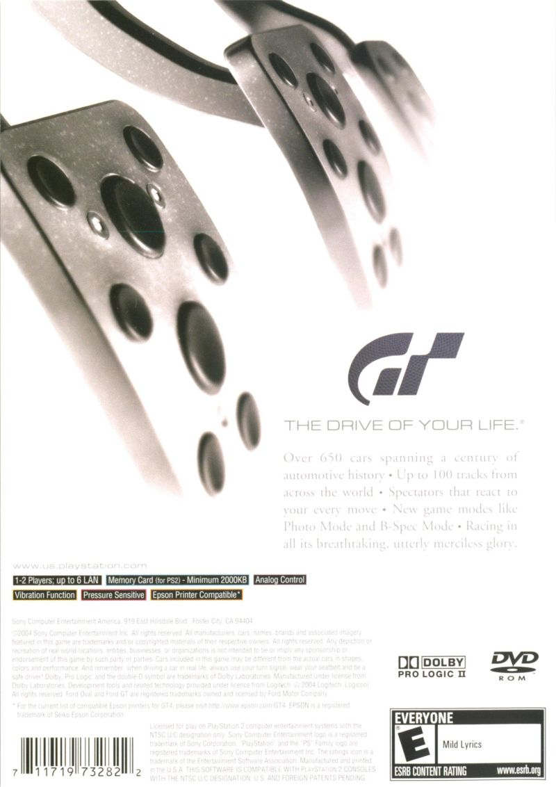 Gran Turismo 4 PlayStation 2 Back Cover