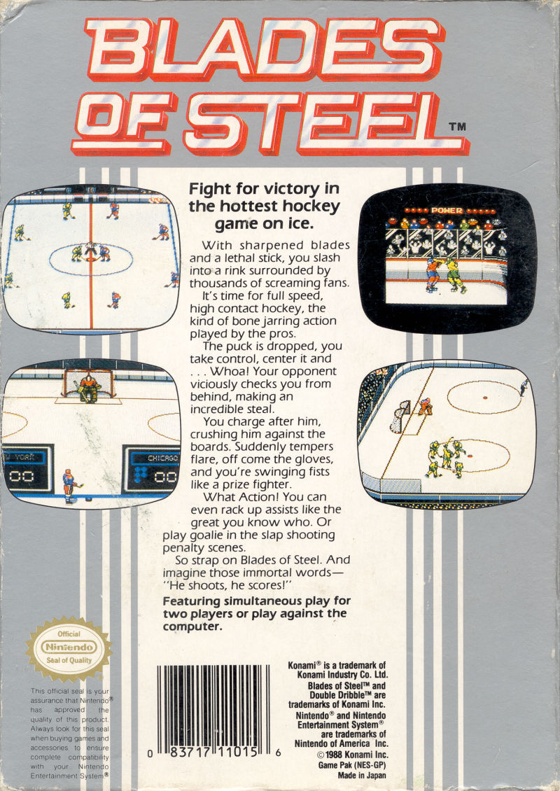 Blades of Steel NES Back Cover