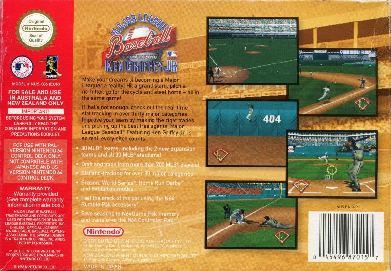 2c23ceb53c Major League Baseball Featuring Ken Griffey Jr Nintendo 64 Back Cover