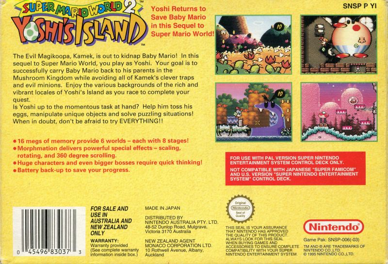 Super Mario World 2: Yoshi's Island (1995) SNES box cover art