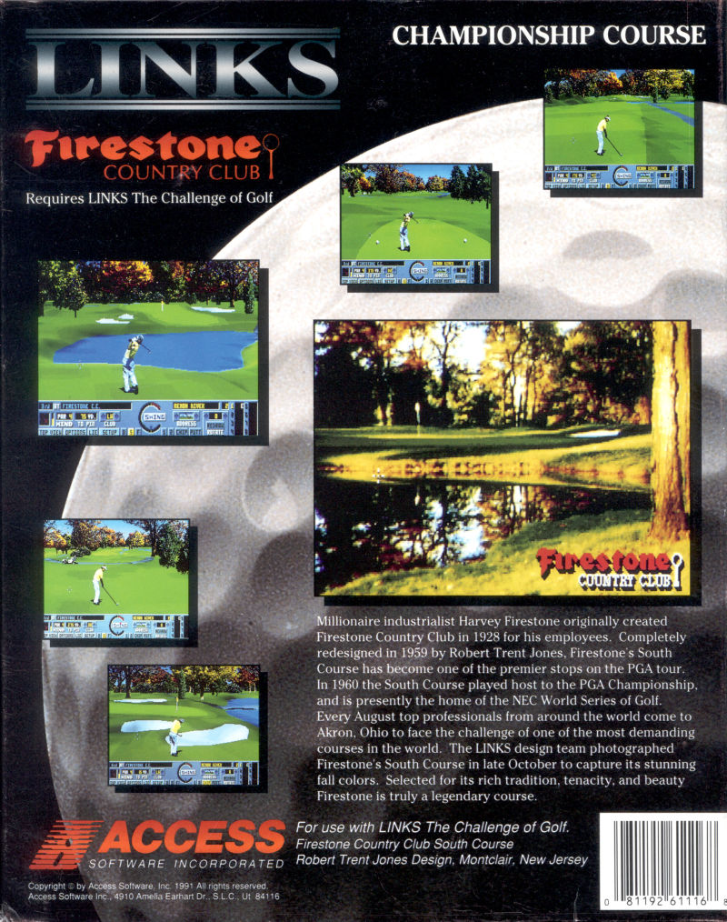 Links: Championship Course - Firestone Country Club DOS Back Cover