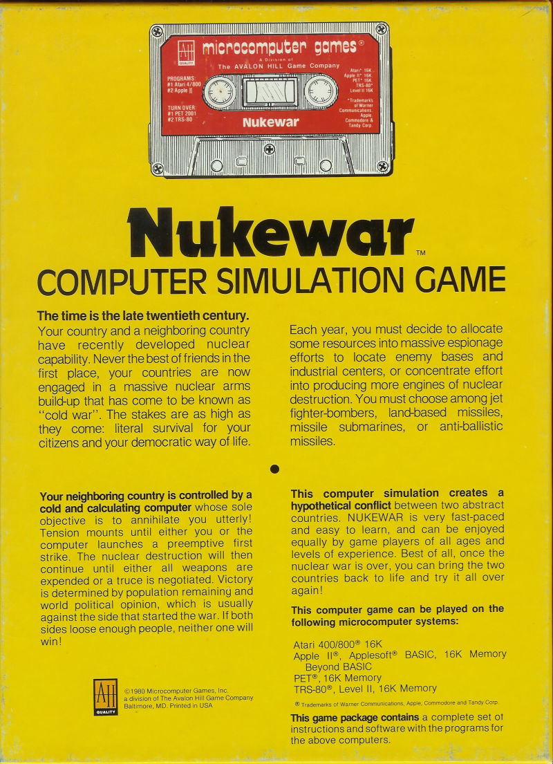 Nukewar Apple II Back Cover