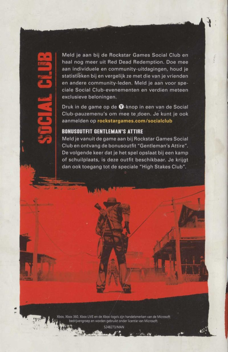 Red Dead Redemption Xbox 360 Manual back