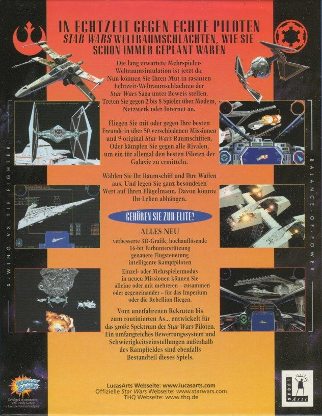Star Wars: X-Wing Vs. TIE Fighter Windows Back Cover