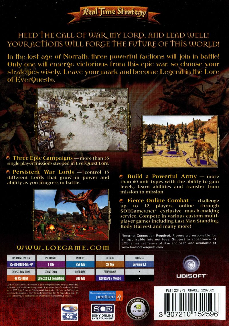 Lords of EverQuest Windows Back Cover