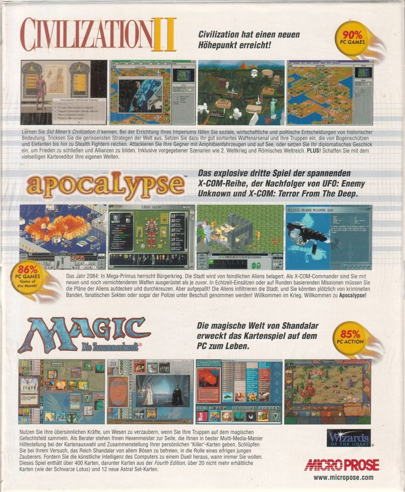 The Best of Microprose Strategy DOS Back Cover