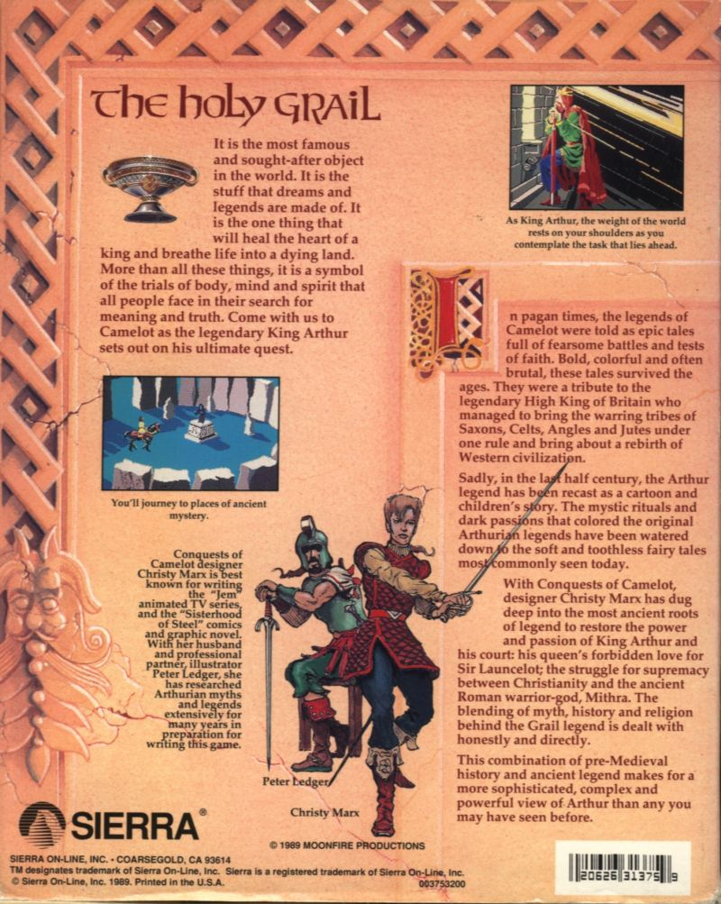 Conquests of Camelot: The Search for the Grail DOS Back Cover