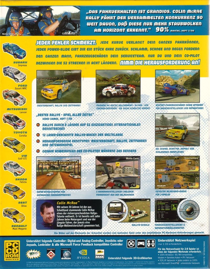 Colin McRae Rally Windows Back Cover