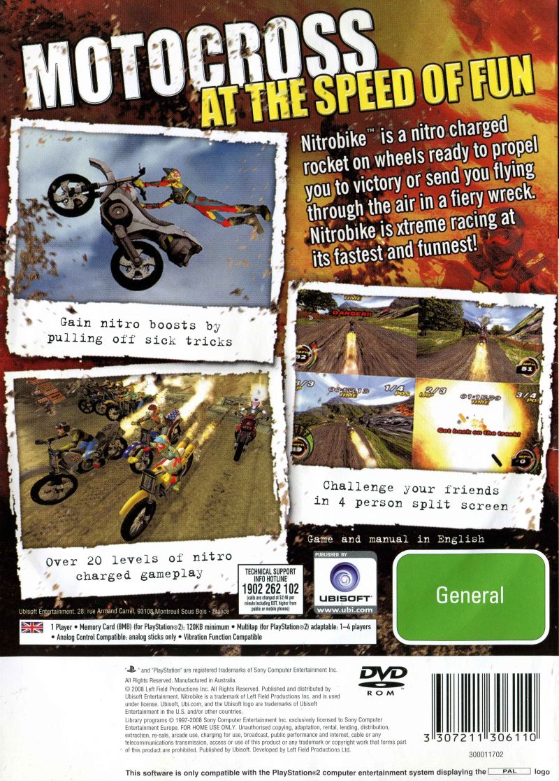 Nitrobike PlayStation 2 Back Cover