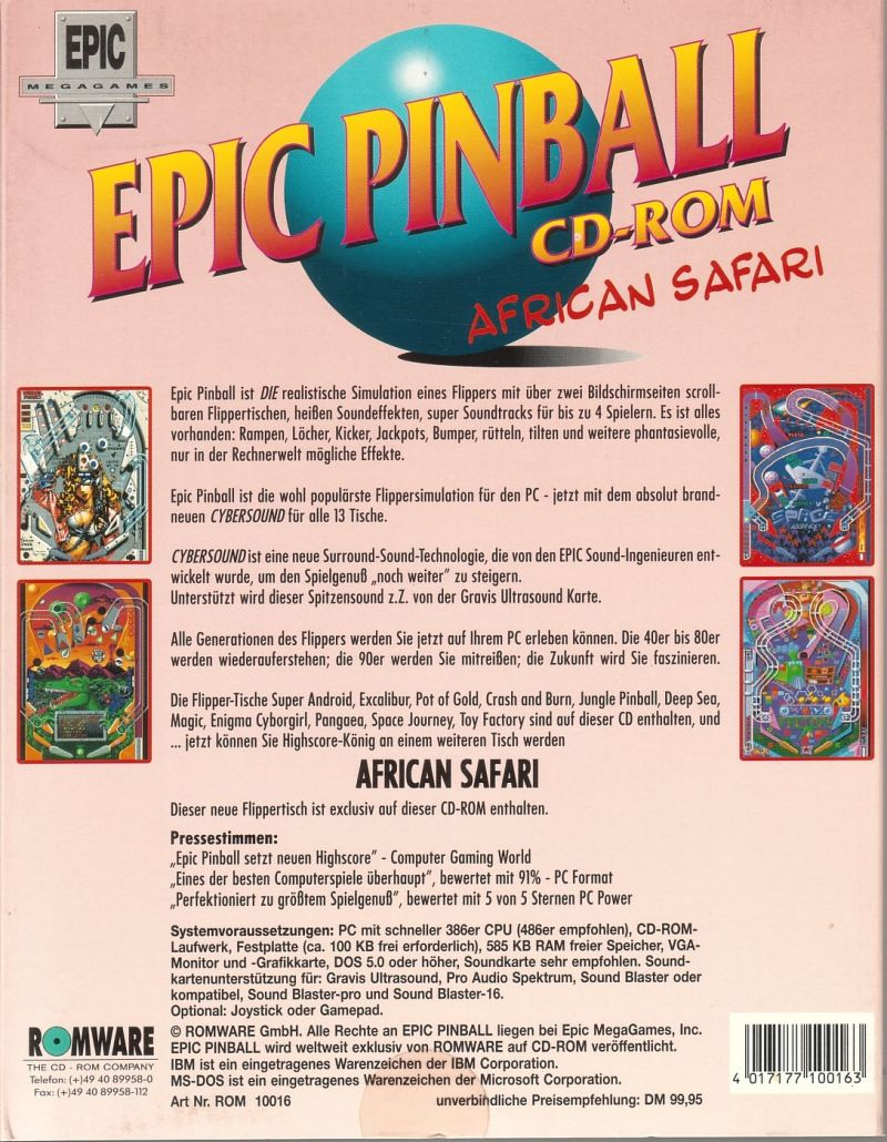 Epic Pinball DOS Back Cover