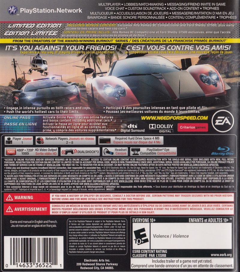 Need For Speed Hot Pursuit Limited Edition 2010 Playstation 3
