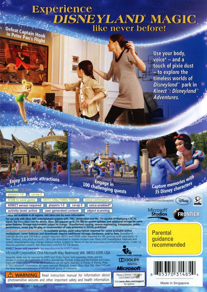 Kinect disneyland adventures xbox 360 game for sale | dkoldies.