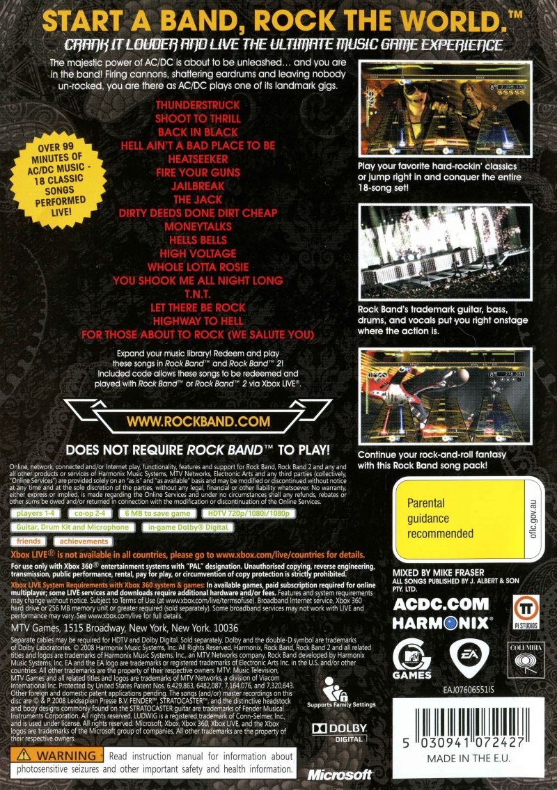 AC/DC Live: Rock Band - Track Pack (2008) PlayStation 2 box cover