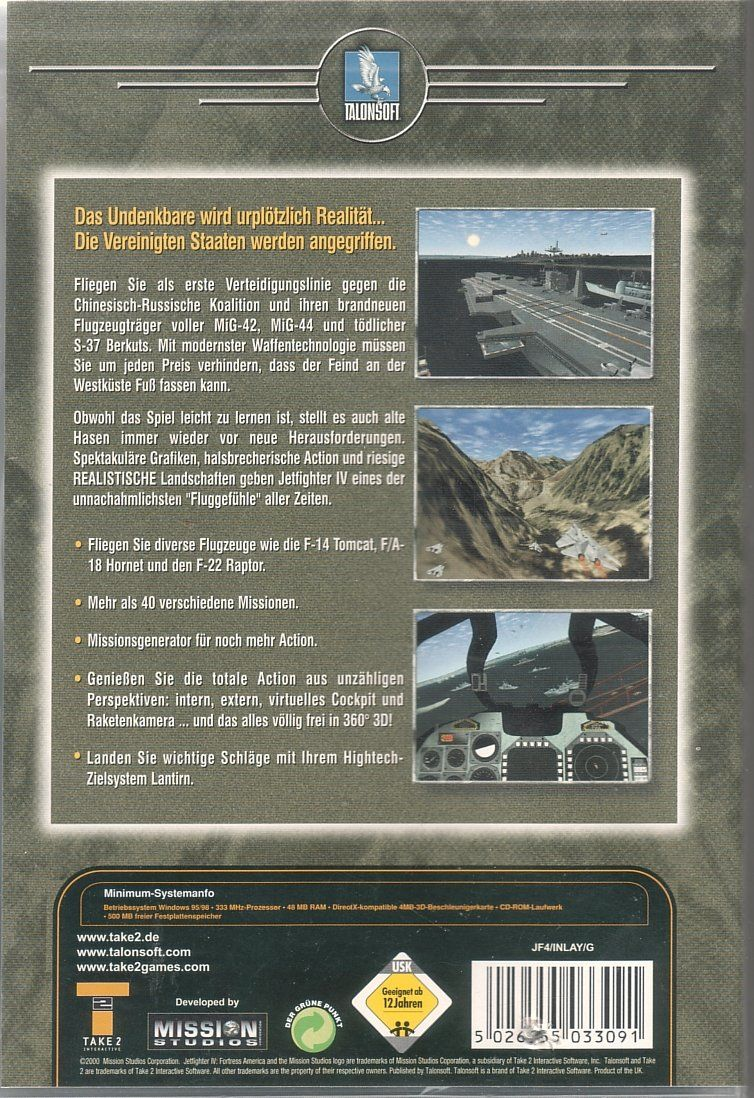 JetFighter IV: Fortress America Windows Back Cover