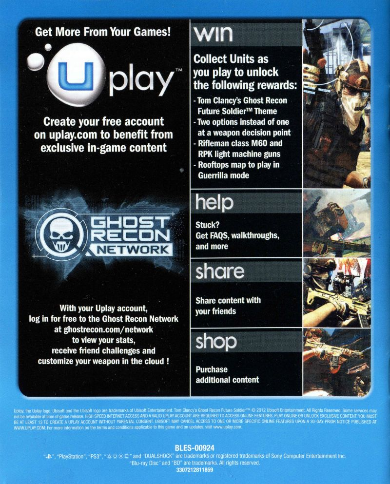 Tom Clancy's Ghost Recon: Future Soldier PlayStation 3 Manual Back
