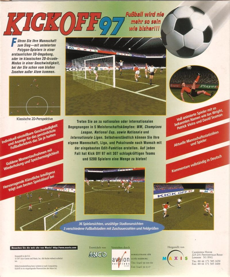Kick Off 97 DOS Back Cover