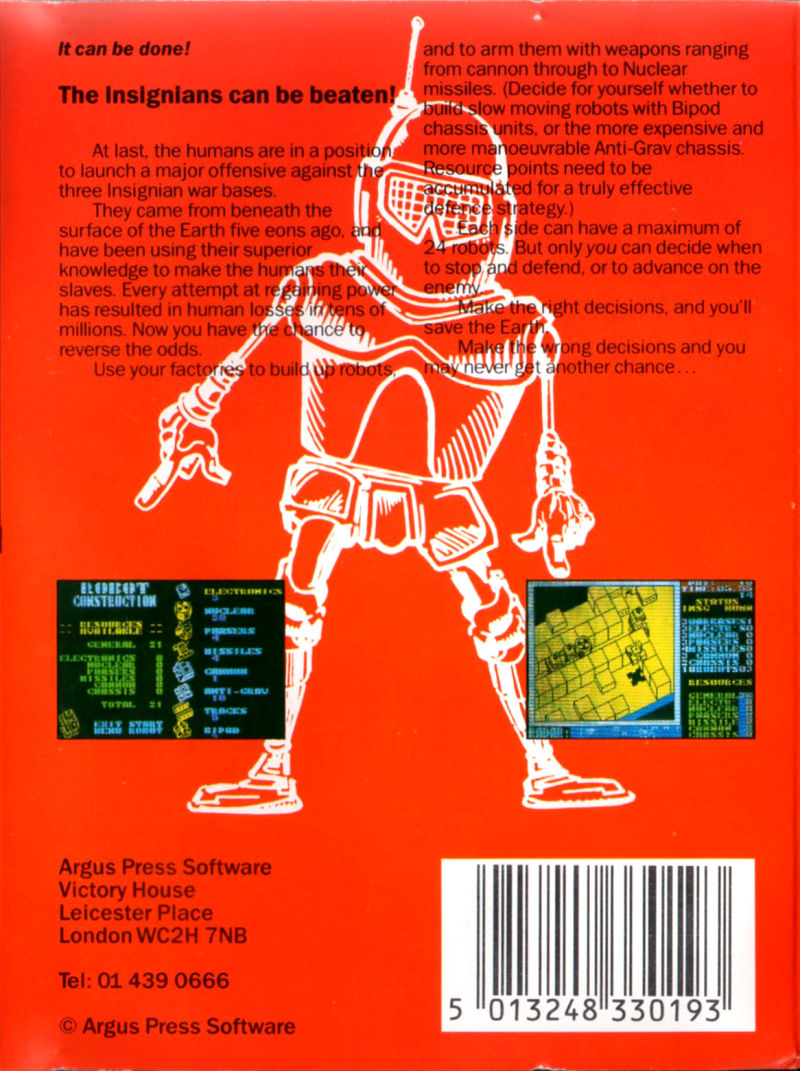 Nether Earth Amstrad CPC Back Cover