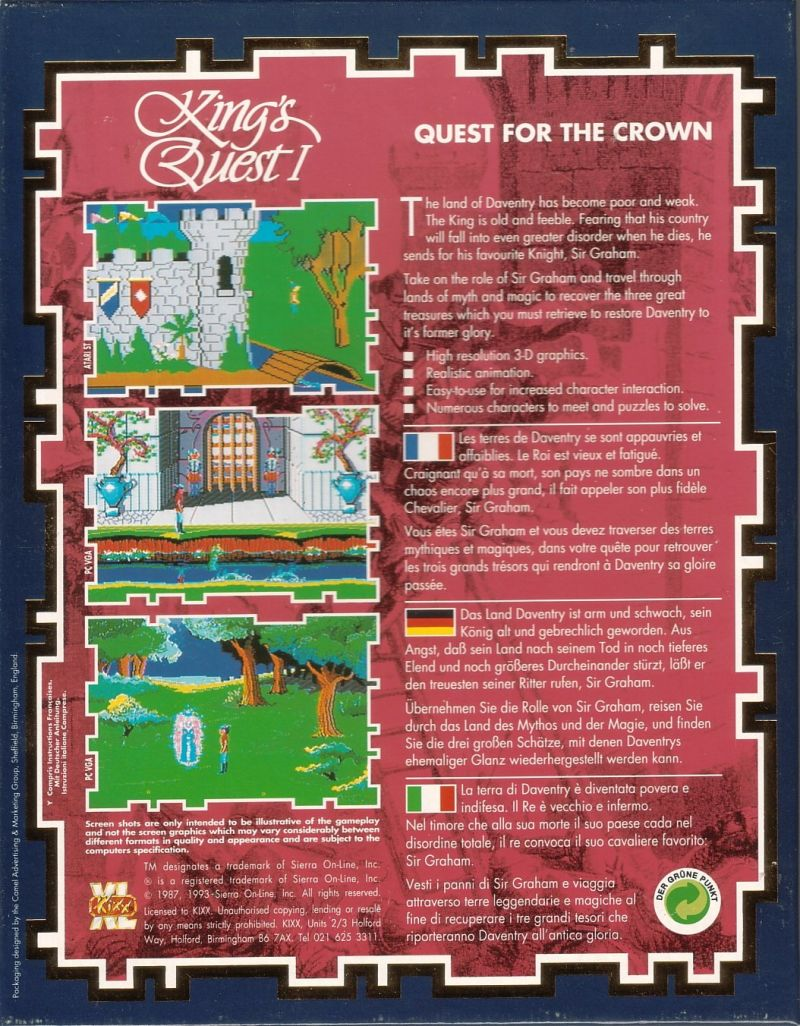 Roberta Williams' King's Quest I: Quest for the Crown DOS Back Cover