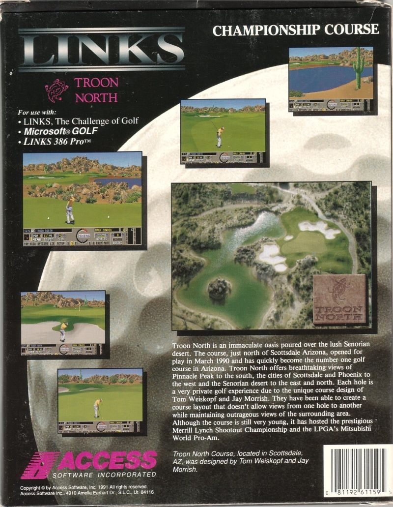 Links: Championship Course - Troon North DOS Back Cover