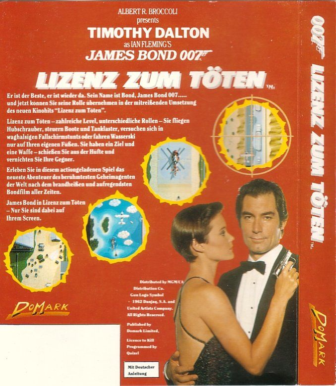 007: Licence to Kill Commodore 64 Back Cover