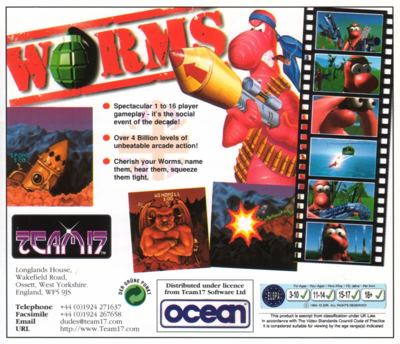 Worms DOS Other Jewel Case - Back