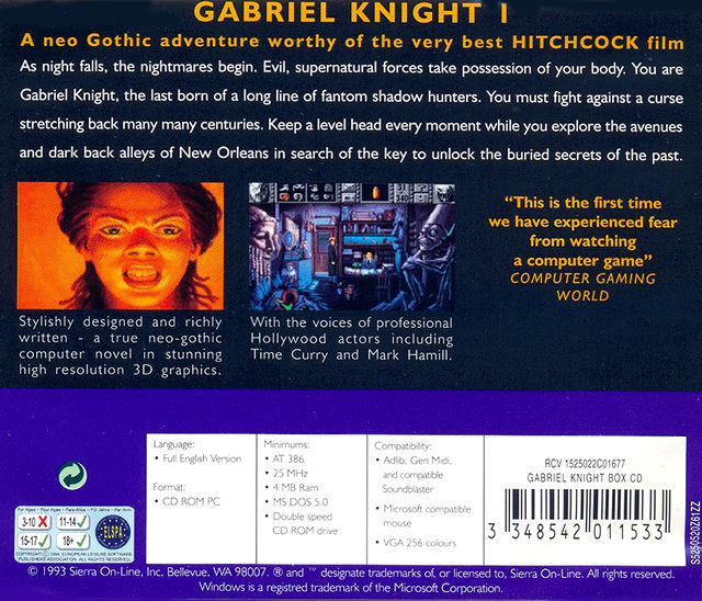 Gabriel Knight: Sins of the Fathers DOS Other Jewel Case - Back