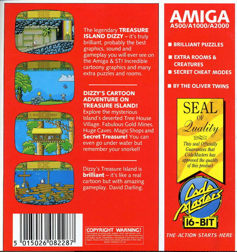 Treasure Island Dizzy Amiga Back Cover