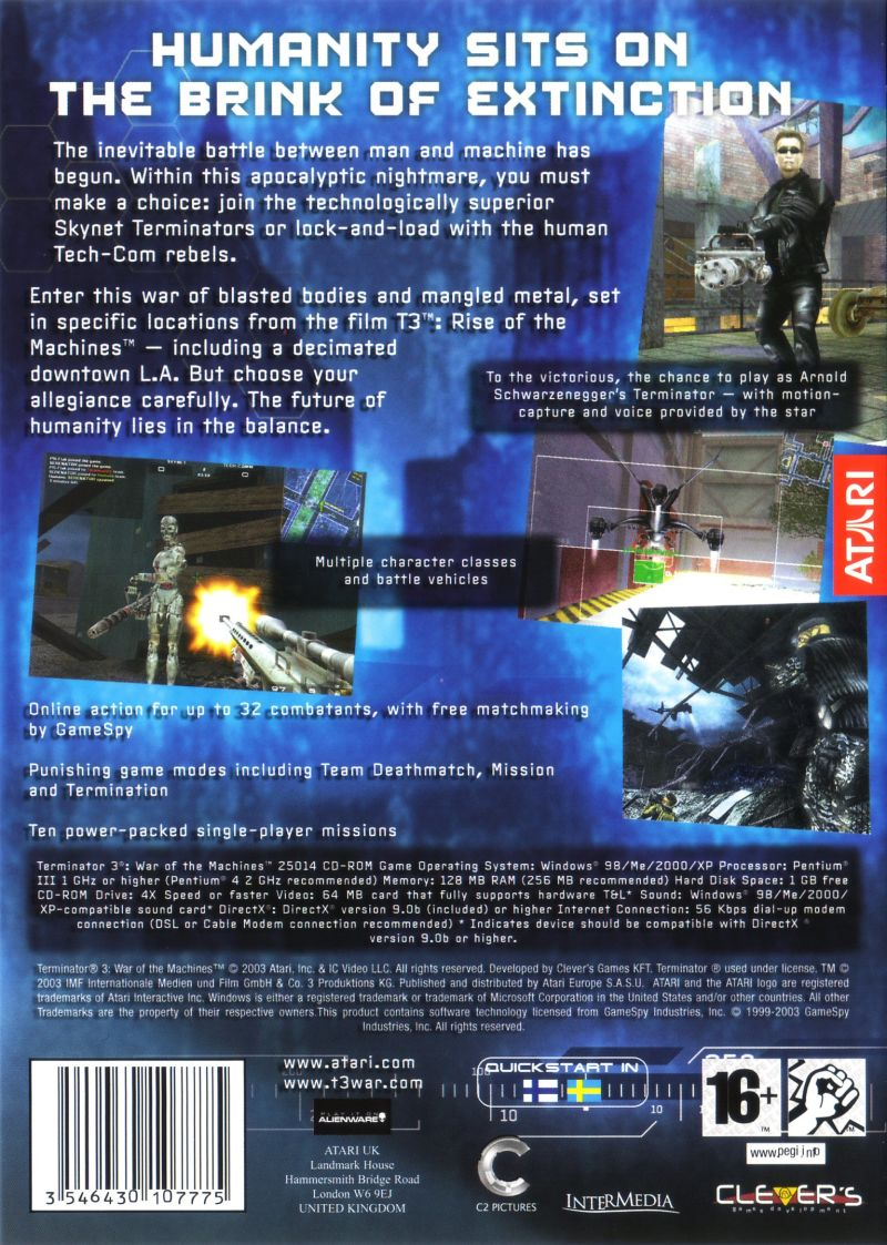 Terminator 3: War of the Machines Windows Back Cover