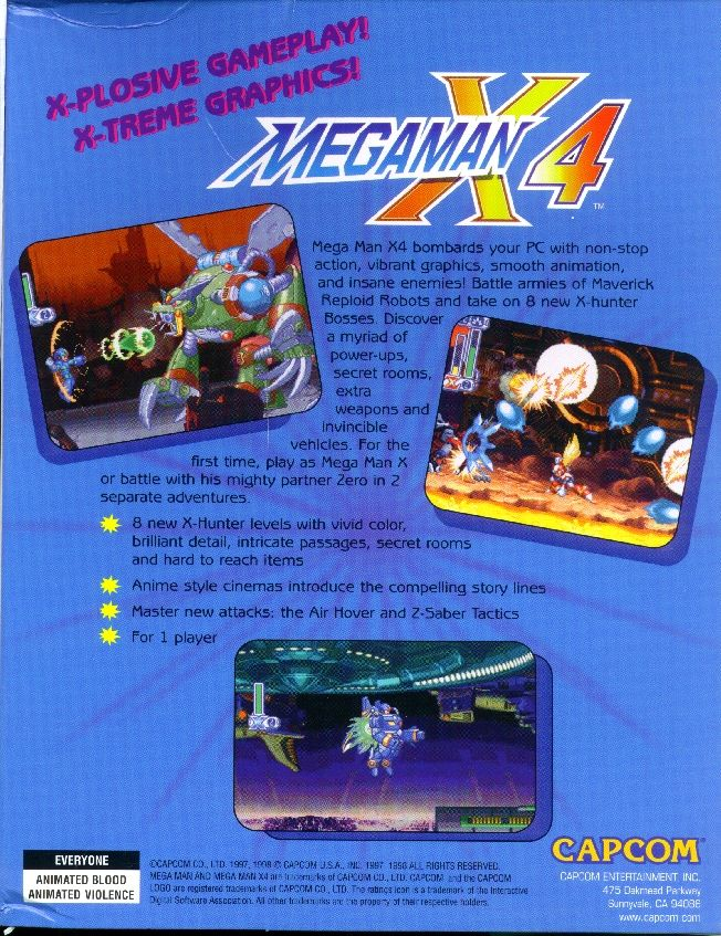 Mega Man X4 Windows Back Cover