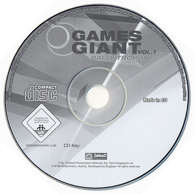 15 Giant Games Vol.1 Windows Media Rally Trophy disc