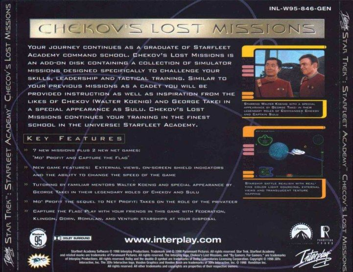 Star Trek: Starfleet Academy - Chekov's Lost Missions Windows Other Jewel Case - Back