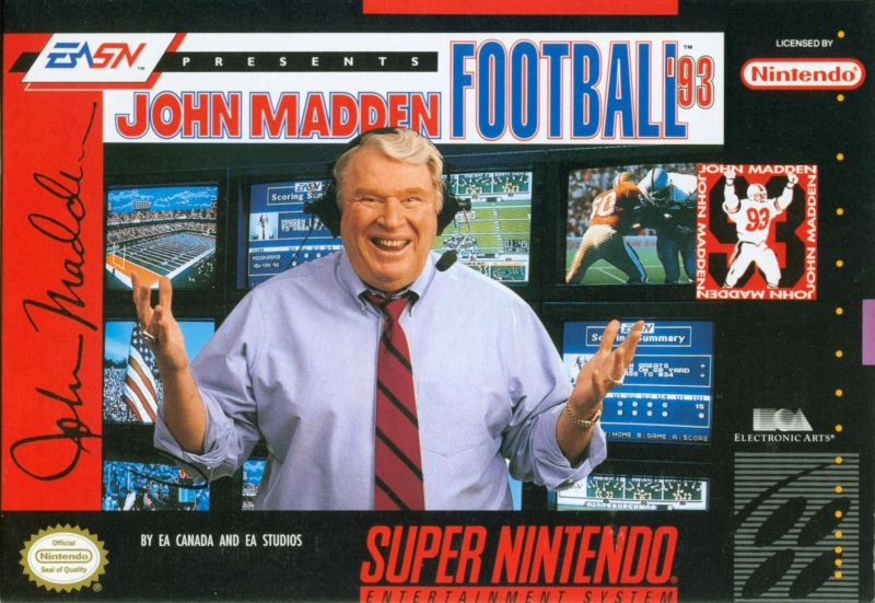 John Madden Football '93 SNES Front Cover