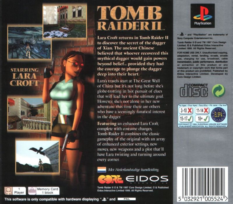 Tomb Raider Ii 1997 Playstation Box Cover Art Mobygames