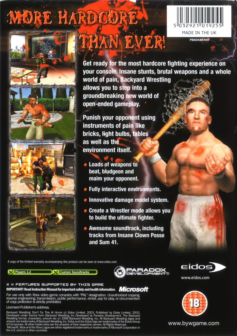 backyard wrestling don u0027t try this at home 2003 playstation 2