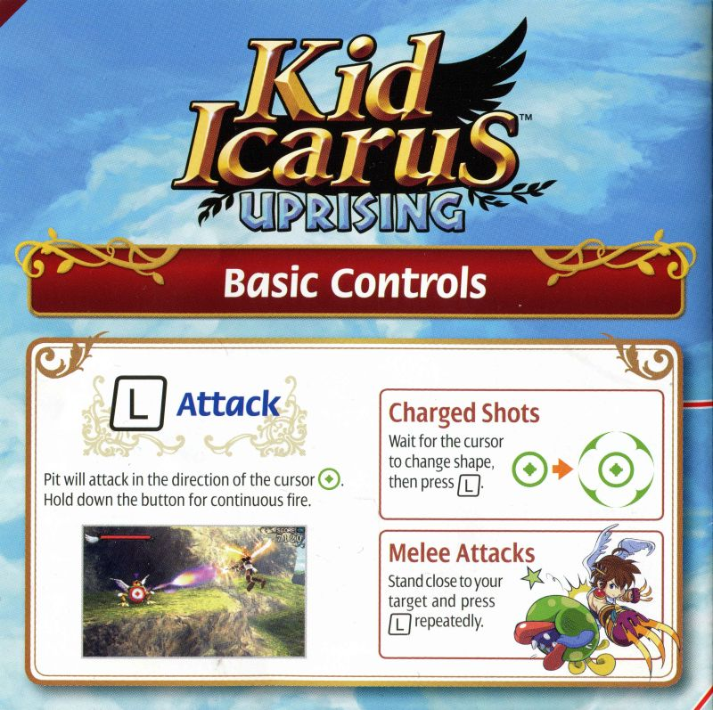 Kid Icarus Uprising Nintendo 3DS Reference Card Front