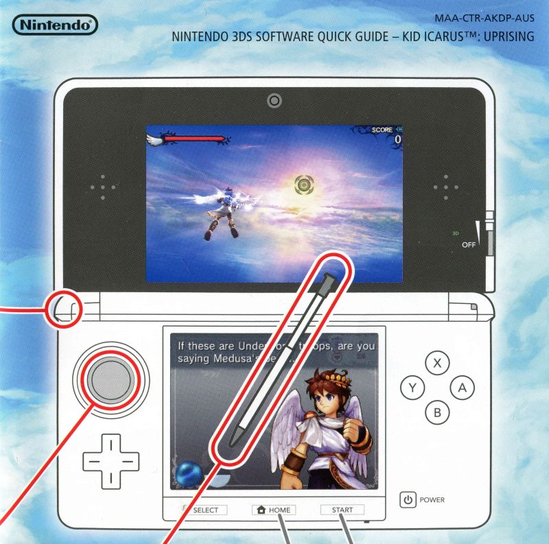 Kid Icarus Uprising Nintendo 3DS Reference Card Back