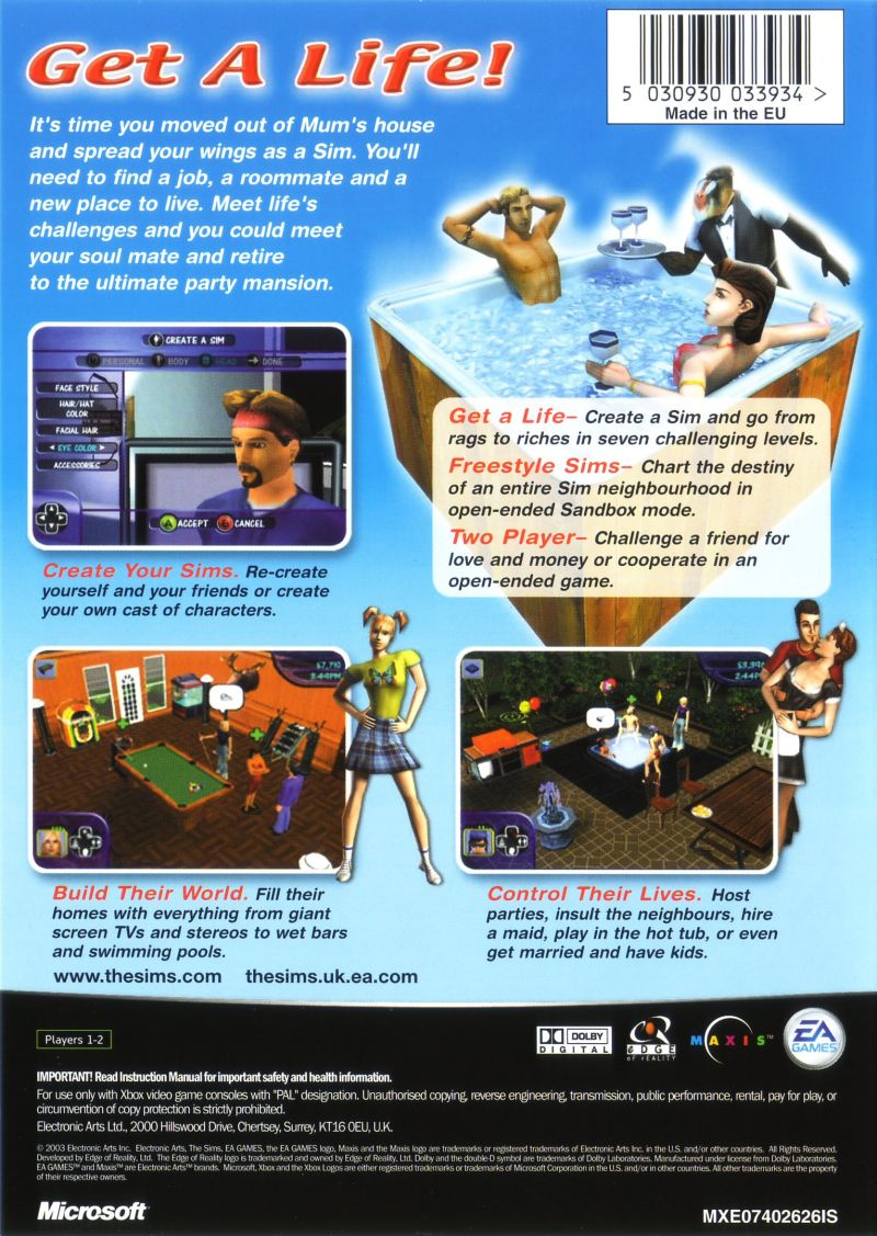 The Sims Xbox Back Cover